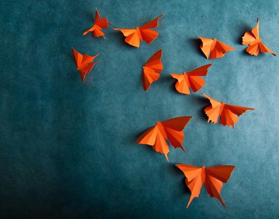 Mariposas de papel para decorar tu pared - Como hacer mariposas de papel para decorar paredes ...