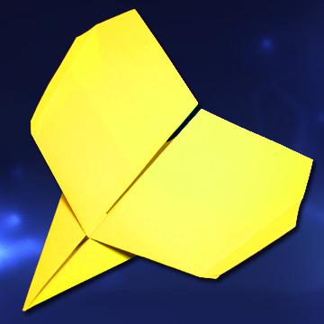 Avion de papel planeador que vuela