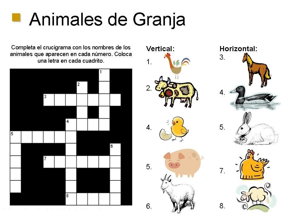 Crucigrama de animales para niños