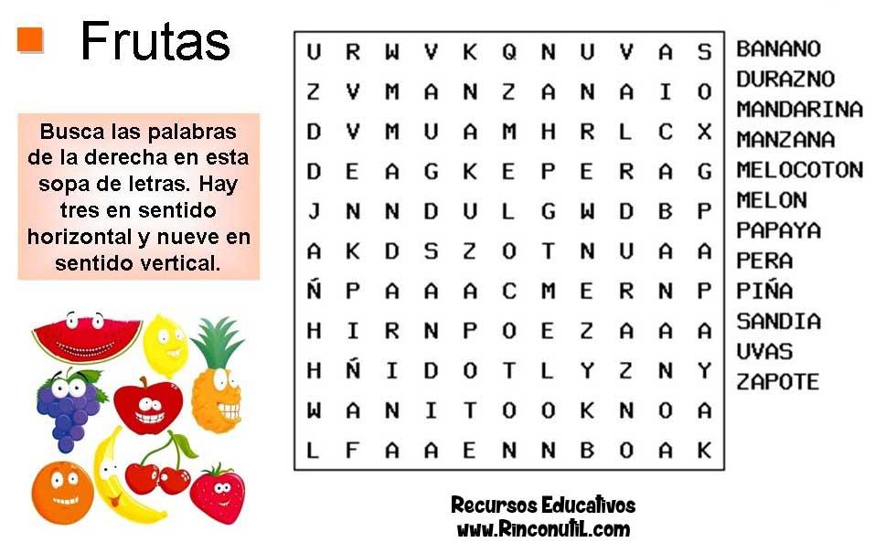 Sopa de letras alimentos Frutas