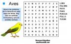 Sopa de letras de aves para niños