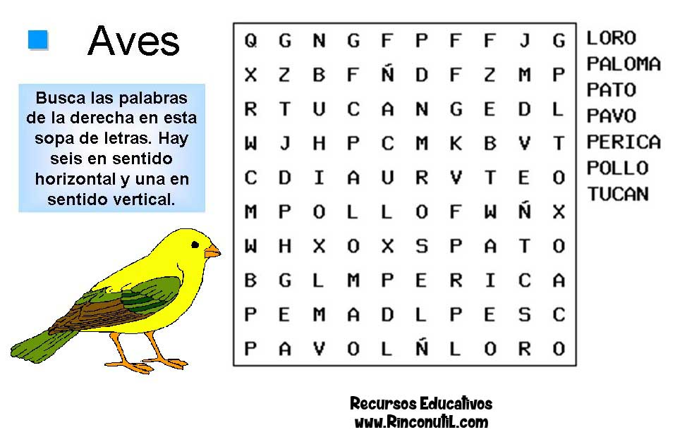 Sopas de letras de Aves para niños