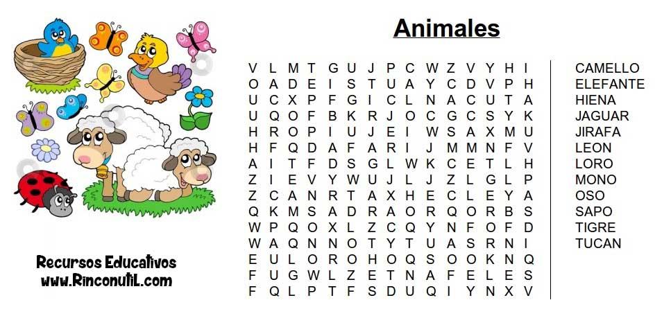 Sopa De Letras Para Imprimir De Animales