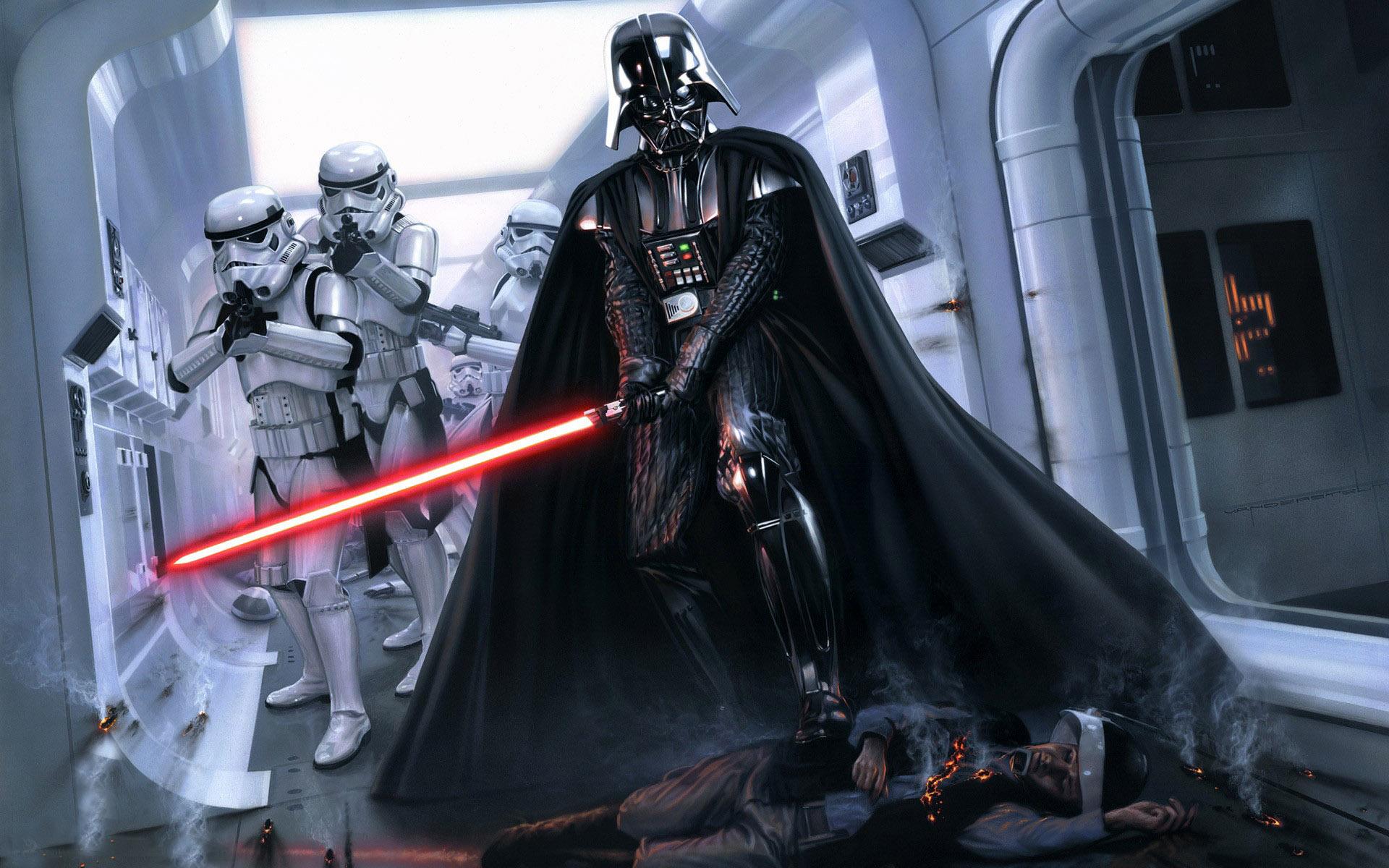 Wallpaper Darth Vader y soldados clon