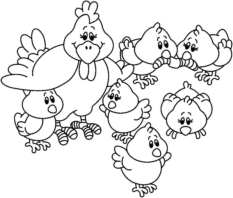 Dibujo Gallita y Pollitos para colorear - Rincon Util