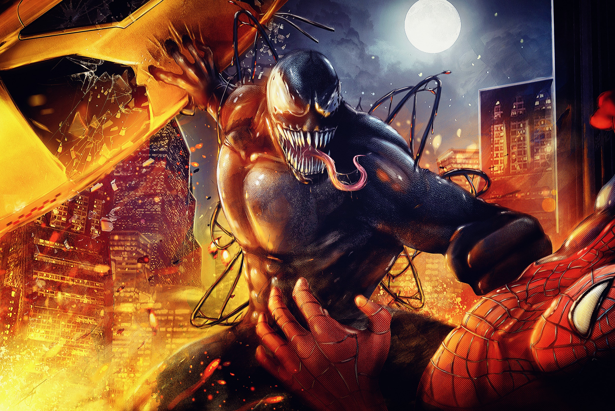 Venom y Spiderman luchando