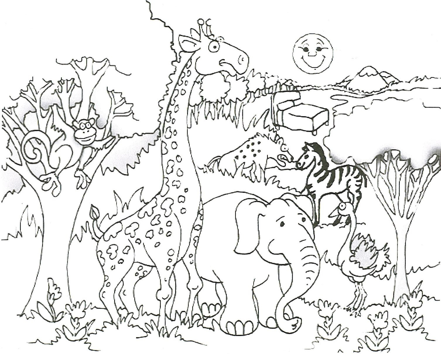Line Art Jungle Animals : Animales de la sabana para colorear rincon util