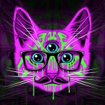 Fondo gato psicodelico