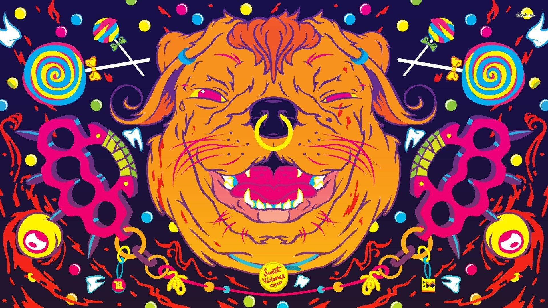 perro Wallpaper psicodelico