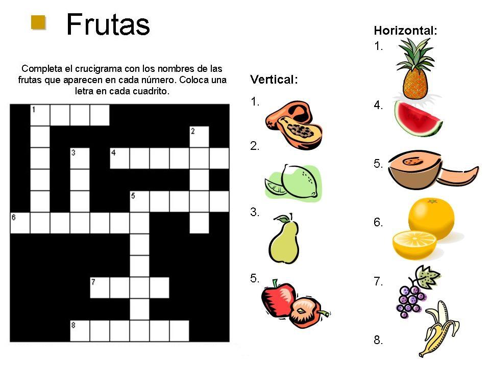 Crucigrama de frutas para niños